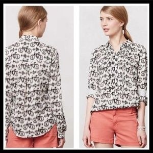 Anthropologie Maeve Blouse Bicycle Print Shirt Top
